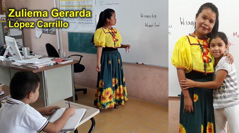 Profesionista Wixárika ofrece plática cultural a niños de primaria mestiza